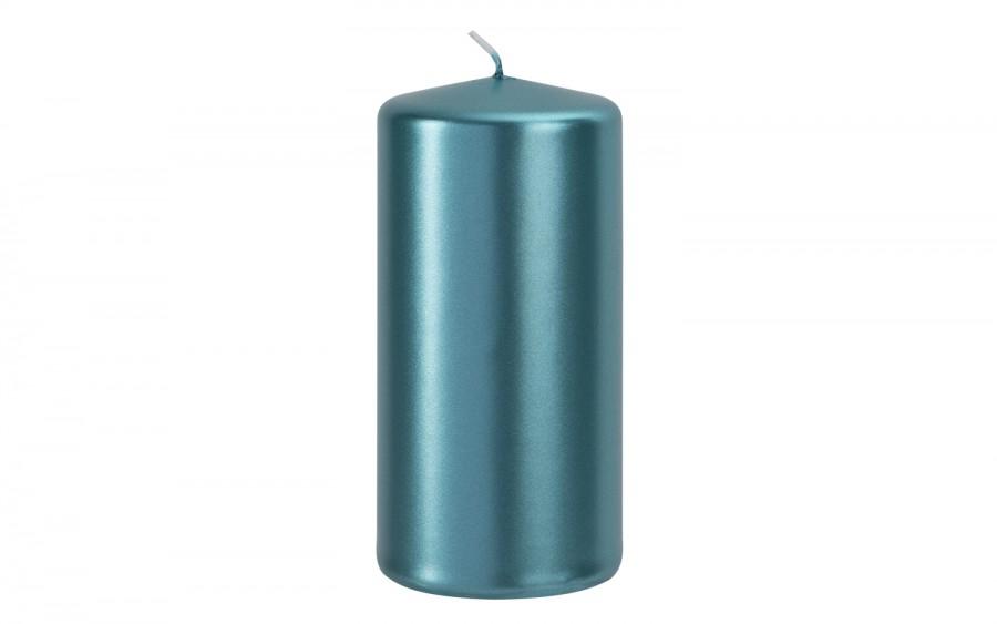 Świeca klubowa lazurowy metalik śr. 5,8cm