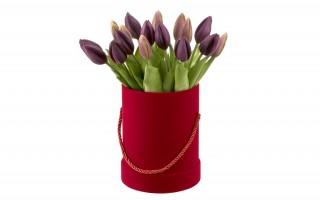 Tulipany w pudełku sztuczne kwiaty bukiet