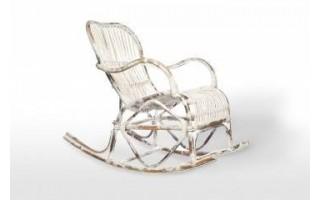 Fotel bujany Marsylia Biały przecierany Rattan
