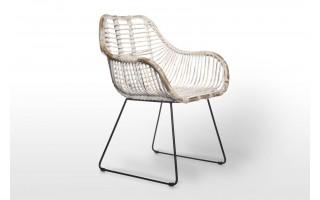 Krzesło Lavel rattan biały przecierany