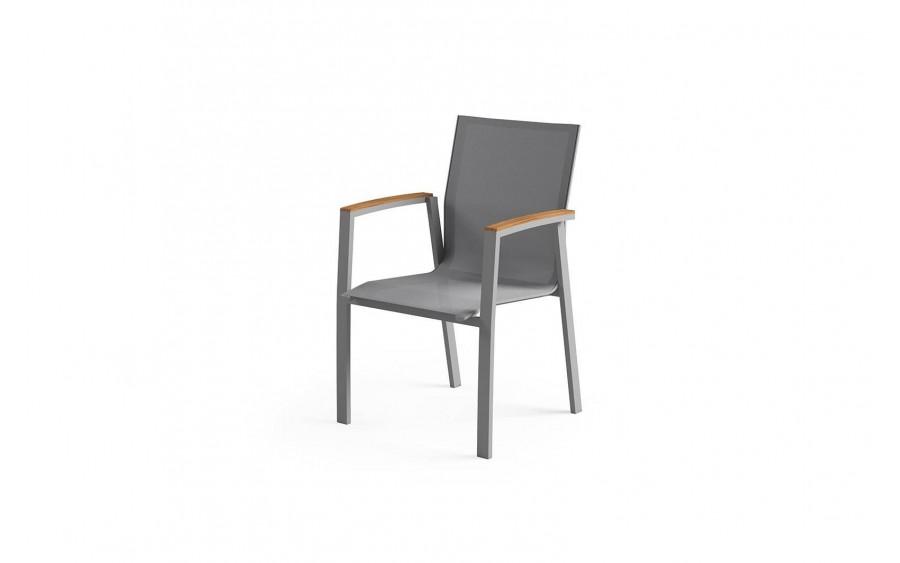 Krzesło z podłokietnikiem Leon Teak Gray