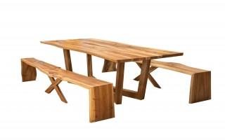 Komplet Laguna stół + 2x ławka kolor orzech
