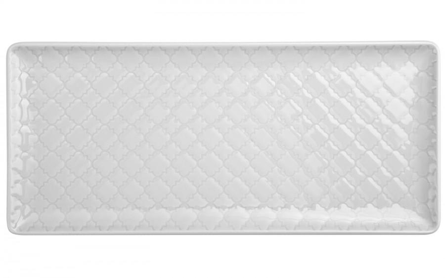 Talerz płytki prostokątny 29x13cm Marrakesz biały