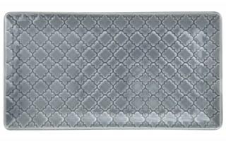 Talerz płytki prostokątny 24x13cm Marrakesz szaro-niebieski