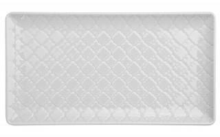 Talerz płytki prostokątny 24x13cm Marrakesz biały