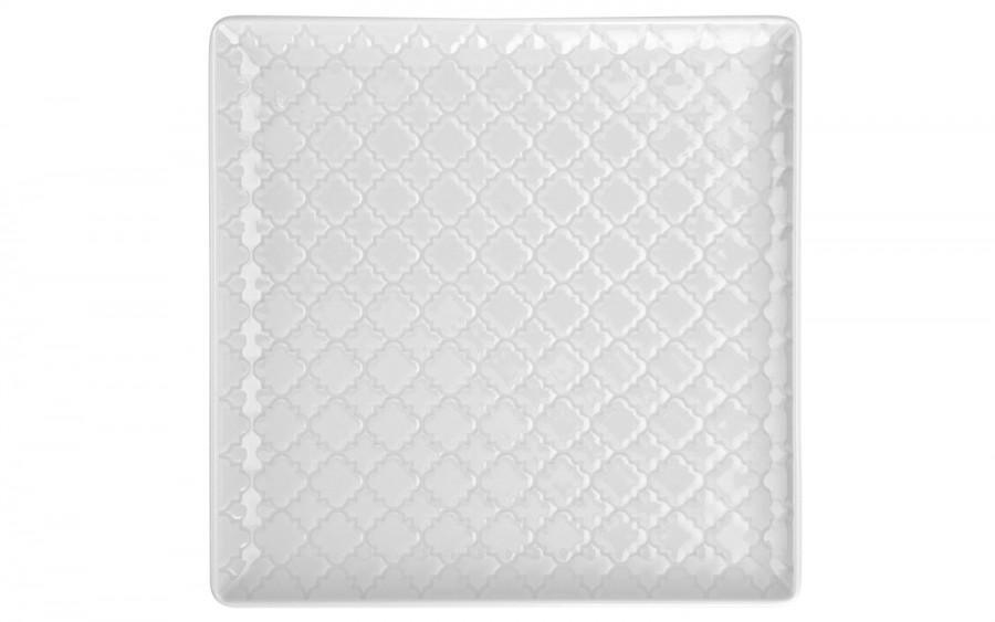 Talerz płytki kwadratowy 17cm Marrakesz biały