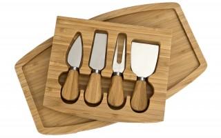 Bambusowa deska do serów z 4 akcesoriami