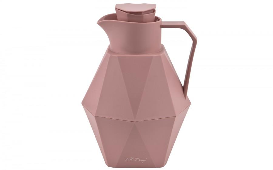 Termos ze szklanym wkładem 1L - różowy