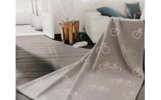 Koc bawełniany 150x200cm Bicycles Grey