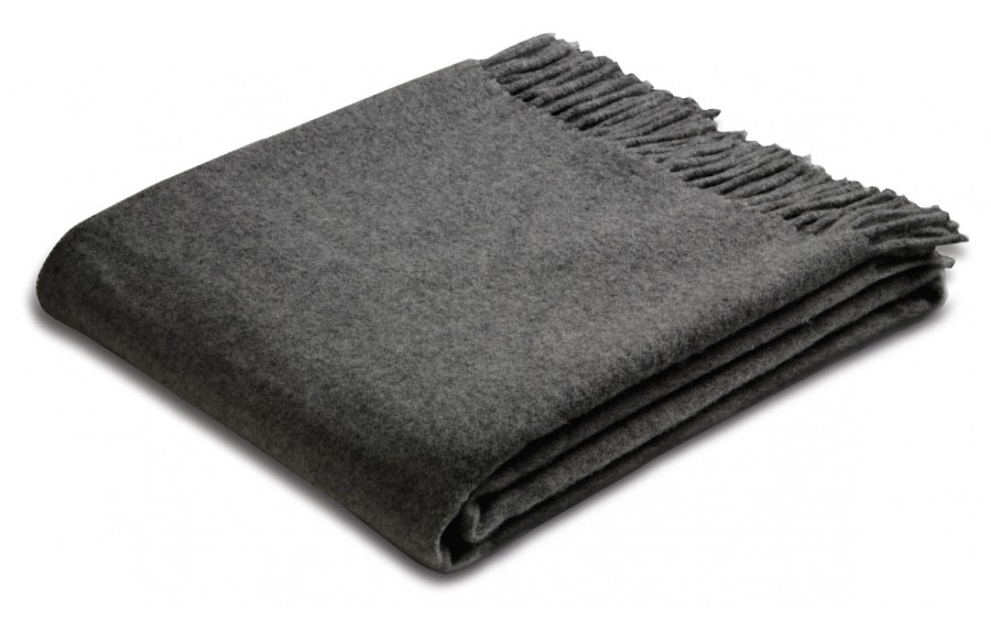 Pled z frędzlami 130x170cm Anthracite Wool