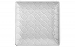 Talerz płytki kwadratowy 11cm Marrakesz biały