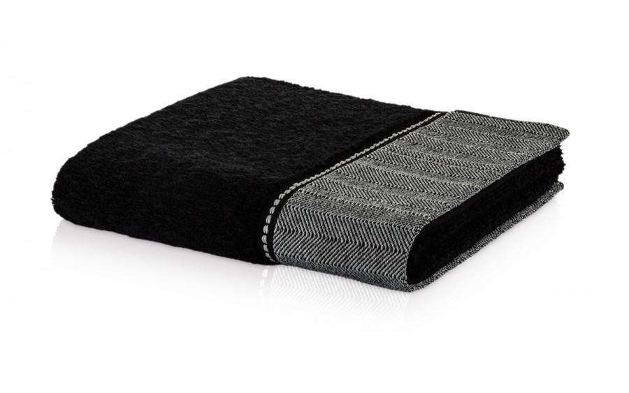Ręcznik czarny z jodełką 50x100 cm BROOKLYN