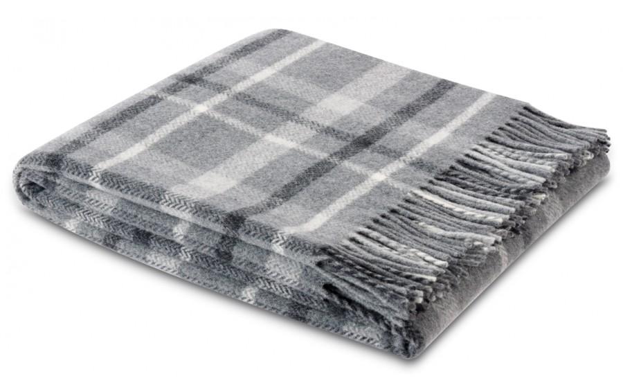 Pled z frędzlami 130x170 cm Square Wool