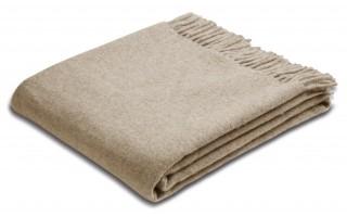 Pled z frędzlami 130x170 cm Beige Wool