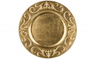 Talerz plastikowy ozdobny 33cm - złoty