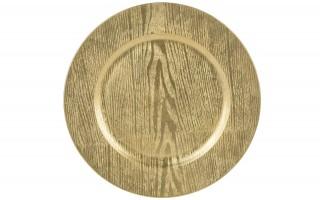 Talerz plastikowy ozdobny 33cm - złote słoje
